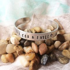 I Can & I Will Hand-Stamped Inspirational Bracelet Cuff Daily Positive Affirmations, Positive Quotes, Metal Stamping, Hand Stamped, I Can, Cuff Bracelets, Canning, Forgive, Life Changing