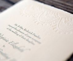 lace wedding invitation letterpress - Google Search
