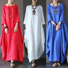 5XL-Plus-Size-Women-Ladies-Loose-Casual-Long-Maxi-Dress-Kaftan-Long-Shirts-2017