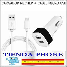 Cargador cuadrado Mechero Coche Doble usb 3.1A + Cable Micro para Samsung S5 S4