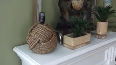 Nautical home decor - One nautical themed rope lamp without the shade - great for that cottage, cabin or home