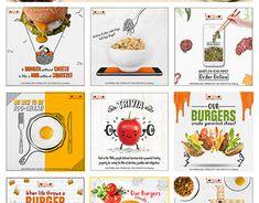Social Media posts for Online Delivery. Food Graphic Design, Food Poster Design, Food Design, Graphic Design Posters, Social Media Poster, Social Media Banner, Social Media Design, Cookies Branding, Leaflet Design