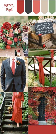 Top 10 Fall Wedding Colors from Pantone for 2016. Gorgeous aurora red and black fall wedding color inspiration