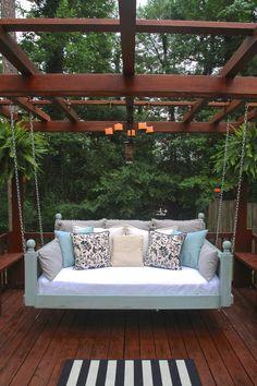 Garden Swing Seat, Swing Beds, Bed Swings, Porch Bed Swing Plans, Porch Swings, Swing Chairs, Outdoor Hanging Bed, Hanging Beds, Hanging Chairs