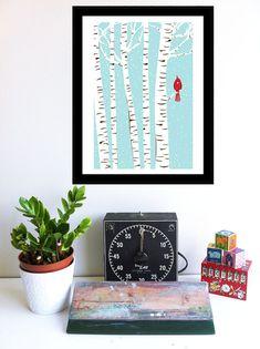 Screenprint Art Winter Cardinal Art Print by strawberryluna