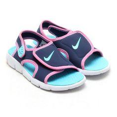 Sandalia chancla Nike Sunray Adjust velcro marino, celeste y rosa