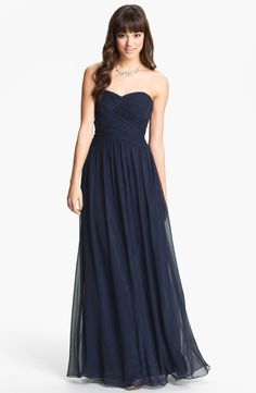 JS Boutique Strapless Ruched Chiffon Gown in  Navy - $148.00 - Too dark? May work for an ombre look?