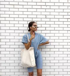SWEET LIKE CANDY @lissyroddyy lookin' BOMB in the Dusky blue oversized boyfriend t shirt + Dusky blue cycling shorts ✨