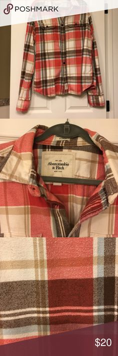 Abercrombie & Fitch flannel shirt A&F Muscle fit flannel shirt; colors include red, tan, brown, cream, and baby blue. Size xxl but can fit a traditional large Abercrombie & Fitch Shirts Casual Button Down Shirts