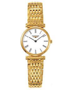 Longines Watch, Women's Gold Plated Bracelet L42092118 - Longines - Jewelry & Watches - Macy's