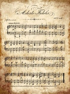 Grungy Aged Vintage Christmas Carol Music - Digital Download - 5 x 7 - Adeste Fideles and Christmas Carols. $2.00, via Etsy.