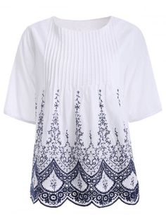 Chic Ethic Embroidered Pleat Crochet Shirt For Women