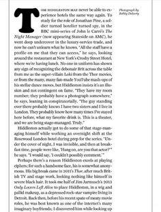 New York Magazine April 2016 Bill W, We Meet Again, Tom Hiddleston, Interview, Articles, Magazine, York, Random, Quotes