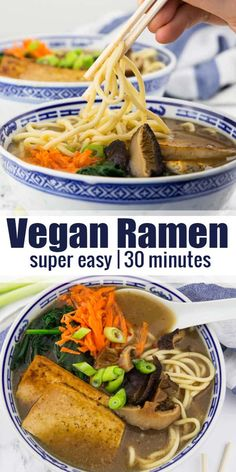 vegan ramen with shiitake mushrooms and tofu is the perfect vegan comfort food! It's packed with flavor and ready in less than 30 minutes! It's one of my favorite vegan soup recipes! Vegan Lunch Recipes, Vegan Soups, Vegan Dishes, Healthy Recipes, Vegan Food, Ramen Recipes With Tofu, Vegetarian Ramen, Whole Food Recipes, Soup Recipes