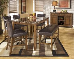 """The 'Lacey' 36"""" x 60"""" counter-height table w/ 4 chairs & counter-height bench"""