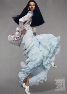 Liya Kebede by Mert  Marcus. I love her dancer-like movement and how it shows off her outfit.