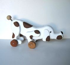 Vintage Wood Dog Pull Toy White and Brown by jewelryandthings2