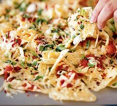 tortilla chips, grated onions and cheddar, add a bit of salsa, and put in the oven for 3 minutes!! (thanks to silvana franco)