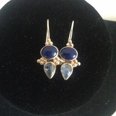 "sterling silver lapis earrings. beautiful sterling lapis and moonstone earrings embellished with little sliver beads on either side of stones. locking French wires. total length approx 1"". this earring looks great on short hair and long hair cuties! Jewelry Earrings"
