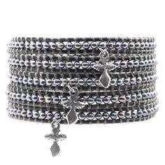 Peacock Pearl Wrap Bracelet with Cross Charms - Chan Luu