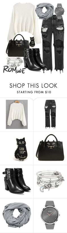 """""""Untitled #207"""" by dianastojanovic ❤ liked on Polyvore featuring Alexander Wang, Charlotte Olympia, Nasty Gal, Alex and Ani, MANGO and BOSS Black"""