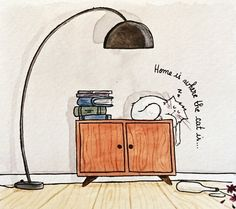 home is where cat is / croquis aquarelle chat / cat watercolor