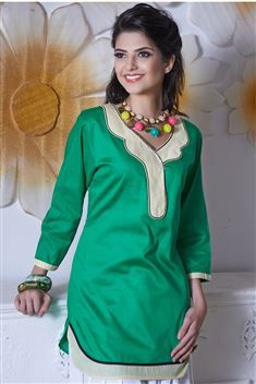 Green Short Cotton Kurtis