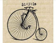 Bicycle digital download image Vintage bicycle velocipede for transfer to fabric papercraft burlap pillows tote bags No. 551