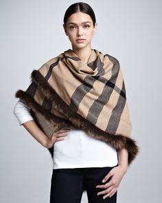 Fox Fur-Trimmed Check Scarf, Camel by Burberry at Neiman Marcus. Trent Coat, Camel Scarves, Capes & Ponchos, Checked Scarf, Textiles, Knit Fashion, Women's Fashion, Neck Warmer, Fox Fur
