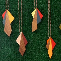 wooden geometric necklaces.