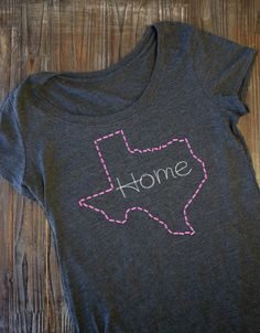 "Urban Threads: Show a little state pride with these simple and cute ""stitched"" outline state designs. Combine it with fun typography to make a bold statement about the places you call home!"