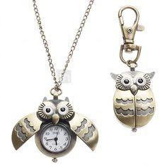 Mulheres Relógio de Bolso Quartz Estilo da coruja Lega Banda Colar com Relógio / Porta-Chaves Relógio Bronze - USD $3.99
