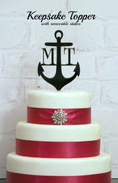 """KEEPSAKE TOPPER: 6"""" Custom Anchor Wedding Monogram Cake Topper Personalized  with YOUR Initials"""