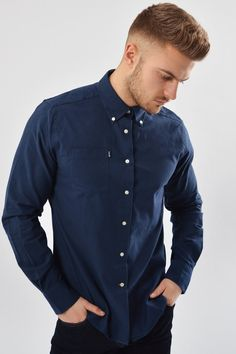 Barbour Shirt Stanley Oxford in NAVY MSH3332NY91 - Smyths Country Sports