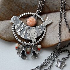 RESERVED balance  Coral Bird necklace by 6shadowsjewelry on Etsy