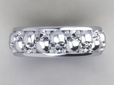 Mens or Womens Skull Wedding Band Solid Silver by UntilDeathInc Skull Wedding Ring, Skull Engagement Ring, Wedding Rings, Viking Jewelry, Western Jewelry, Skull Fashion, Emo Fashion, Hippie Fashion, Steampunk Fashion