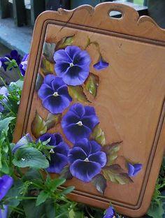 handpainted pansies board