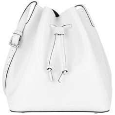 Abro Shoulder Bag - Carmen Calf Leather Bucket Bag White/Black - in... ($175) ❤ liked on Polyvore featuring bags, handbags, shoulder bags, white, shoulder handbags, bucket bags, white shoulder bag, black and white shoulder bag and man bag