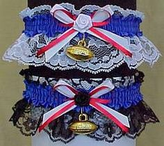 Football Fan Bands™ Garter in NEW YORK GIANTS colors with a football charm attached. Football Wedding Bridal Garter for the Sports Wedding. Visit: www.garters.com/page51b.htm