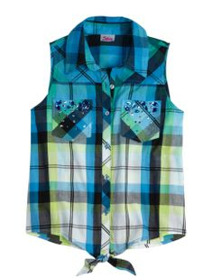 Sleeveless Embellished Plaid Shirt | Girls Tops & Tees Clothes | Shop Justice