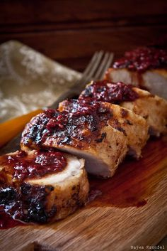 Pork Tenderloin - with a raspberry, cranberry, orange sauce. (A pinner says, 'sub ghee for butter, palm sugar or honey for sugar.)