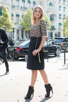 Falda midi rayas botines