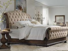 Shop this hooker furniture rhapsody upholstered sleigh bed bedroom set from our top selling Hooker Furniture bedroom sets. LuxeDecor is your premier online showroom for bedroom furniture and high-end home decor. Hooker Furniture, Bedroom Furniture Sets, Bed Furniture, Home Decor Bedroom, Master Bedroom, Master Suite, Furniture Stores, Furniture Movers, Furniture Websites