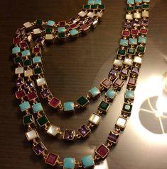 Feroza pearl ruby n emerlad neckles