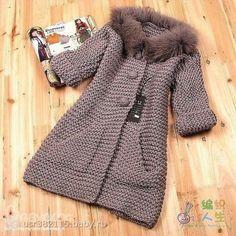 Knitting Patterns Coat Moda 'Beautiful taupe knitted coat in garter stitch' Crochet Baby Jacket, Crochet Coat, Knitted Coat, Crochet Cardigan, Crochet Clothes, Knitting For Kids, Baby Knitting Patterns, Crochet For Kids, Crochet Pattern