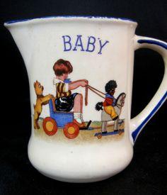 🍨Creamer Pitcher Great Britain Cute Baby Kid Design Vintage Ceramic White Blue  #Unknown