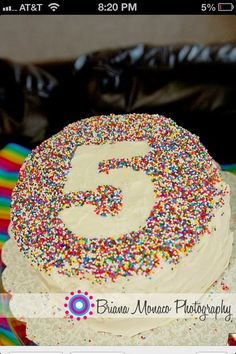 Cut out a number and place it on the cake. Apply sprinkles and remove cut out! WhaLah!