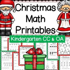 Kindergarten Common Core Christmas themed math worksheets, answer keys, task cards, and more that align with the Counting and Cardinality and Operations and Algebraic Thinking Common Core State Standards.