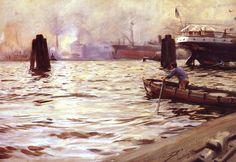 The Athenaeum - Hamburg Harbour (Anders Zorn - )