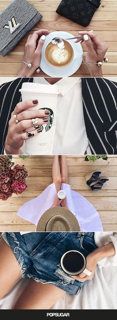 Coffee and clothes Instagram photos.